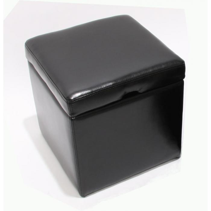hocker sitzw rfel sitzhocker aufbewahrungsbox onex mit deckel leder 45x44x44cm schwarz. Black Bedroom Furniture Sets. Home Design Ideas