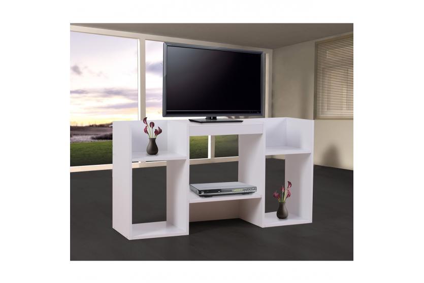 tv regal fernsehtisch regal aus holz 109x59x30 cm schwarz wei ebay. Black Bedroom Furniture Sets. Home Design Ideas