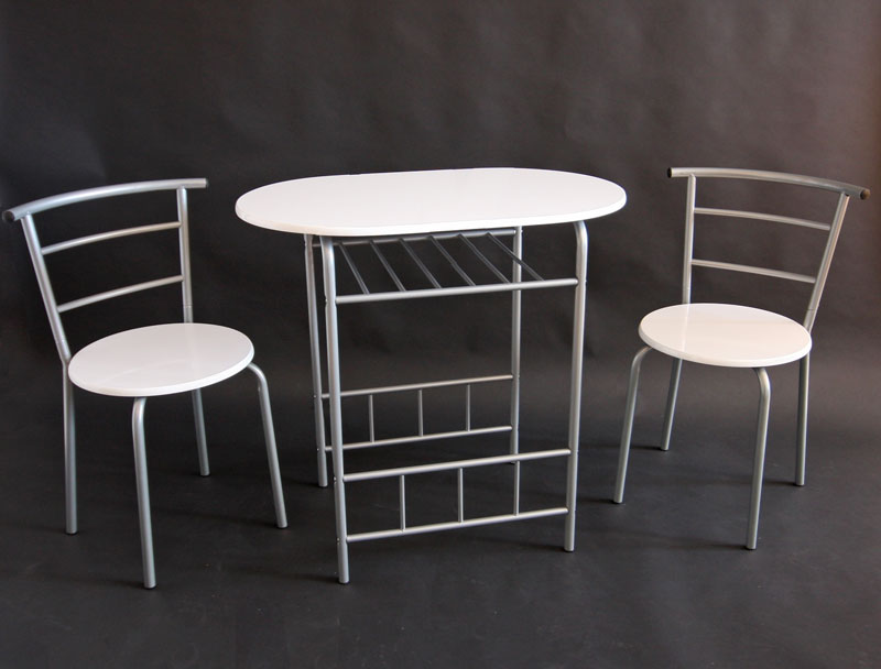 metall esstisch esszimmertisch mdf platte 2 st hle wei. Black Bedroom Furniture Sets. Home Design Ideas