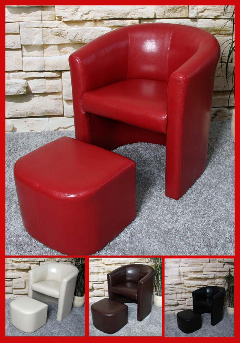 Sessel mit hocker ledersessel lounge sessel m37 for Roter sessel mit hocker