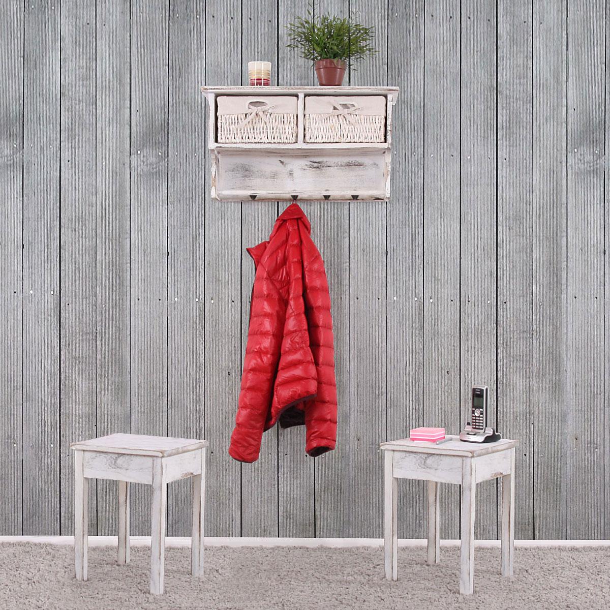 garderobe wandregal mit 2 k rben 2x beistelltisch shabby look vintage wei. Black Bedroom Furniture Sets. Home Design Ideas