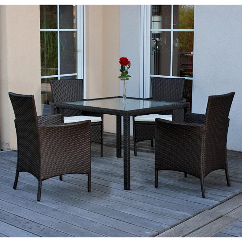 poly rattan garten garnitur esszimmer set romv 4 sessel tisch braun meliert ebay. Black Bedroom Furniture Sets. Home Design Ideas