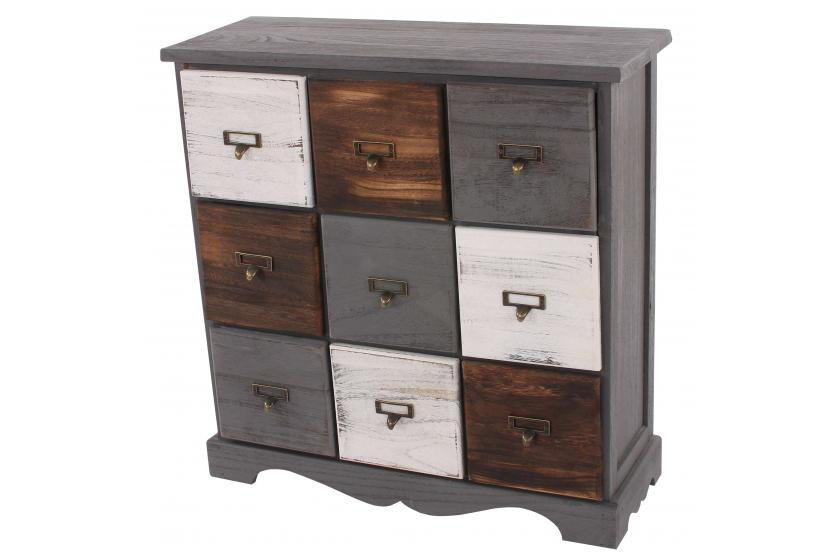 commode avec 9 tiroirs 62x60x23cm shabby look vintage gris marron blanc. Black Bedroom Furniture Sets. Home Design Ideas