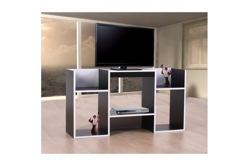 tv rack fernsehtisch standregal aus holz 109x59x30 cm schwarz wei ebay. Black Bedroom Furniture Sets. Home Design Ideas