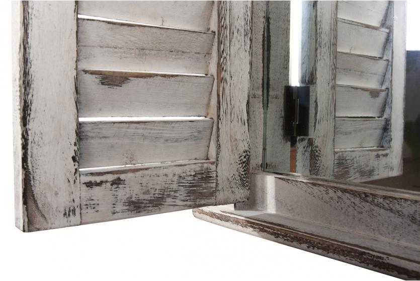 wandspiegel spiegelfenster mit fensterl den 53x42x5cm shabby look vintage wei ebay. Black Bedroom Furniture Sets. Home Design Ideas