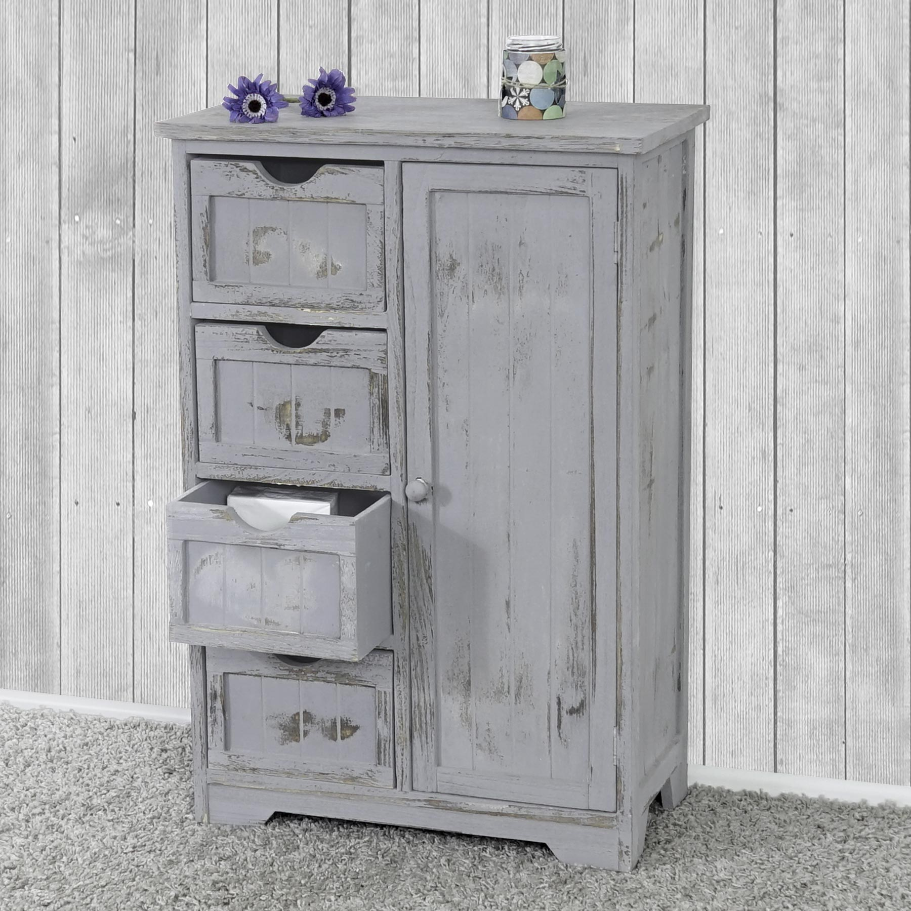 kommode schrank 82x55x30cm shabby look vintage grau ebay. Black Bedroom Furniture Sets. Home Design Ideas