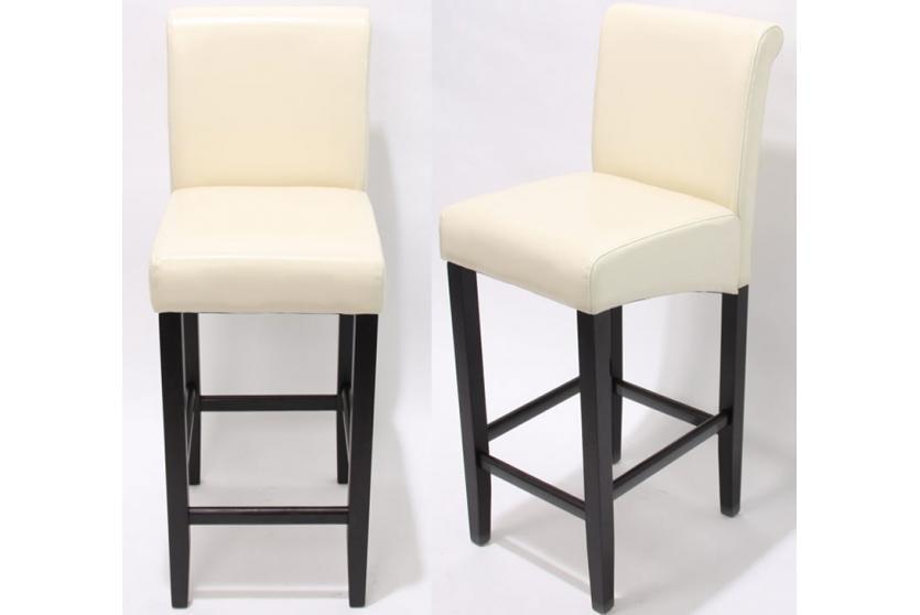 2x barhocker barstuhl lancy creme dunkle beine leder. Black Bedroom Furniture Sets. Home Design Ideas
