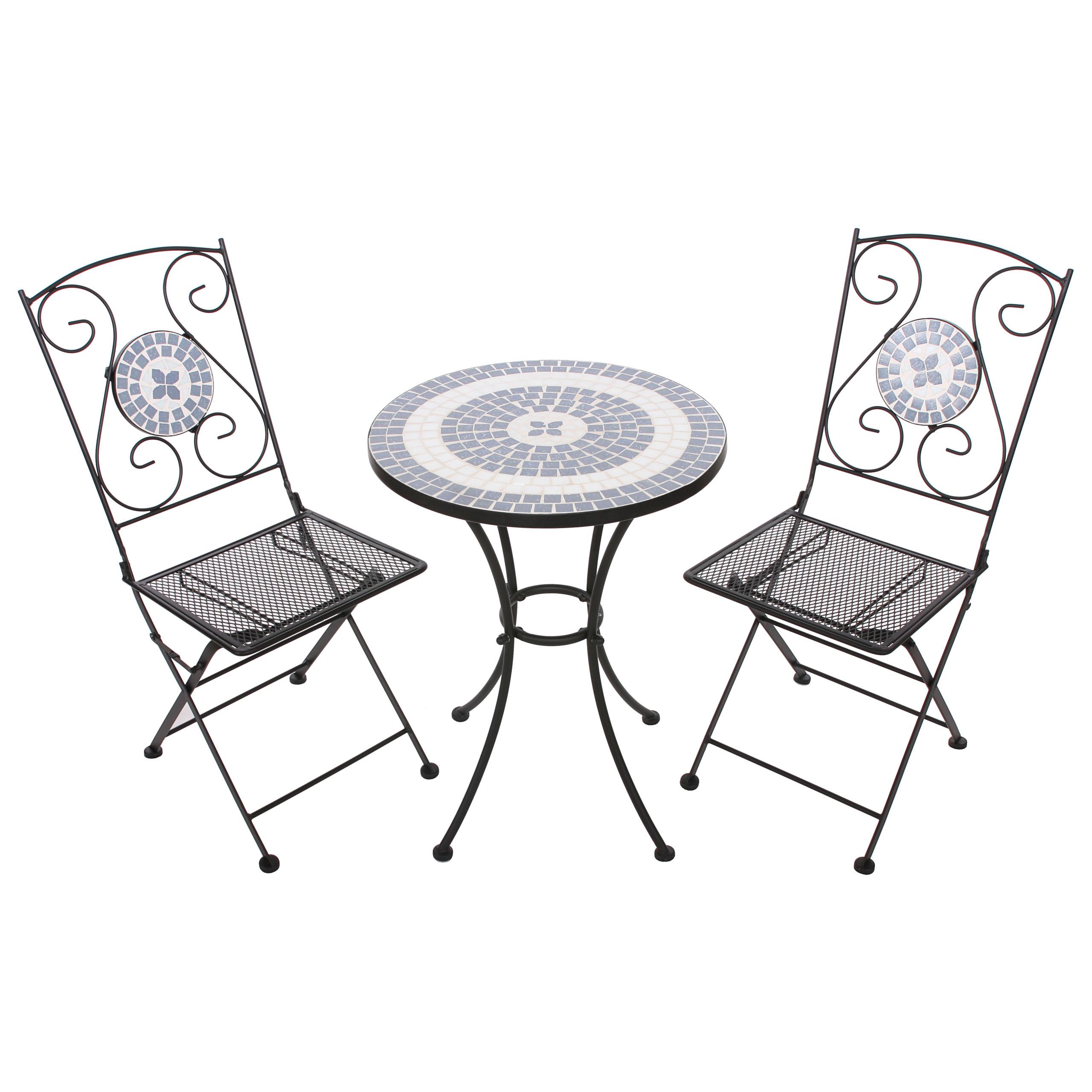 mosaik set gartengarnitur mosaiktisch 2x stuhl klappbar amora ebay. Black Bedroom Furniture Sets. Home Design Ideas