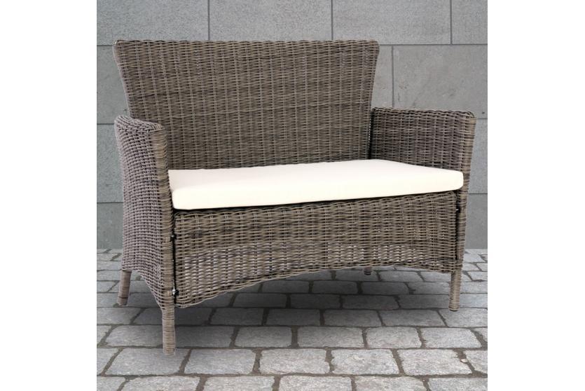 luxus bank sitzbank gartenbank romv poly rattan 113x87x57 cm naturgrau ebay. Black Bedroom Furniture Sets. Home Design Ideas