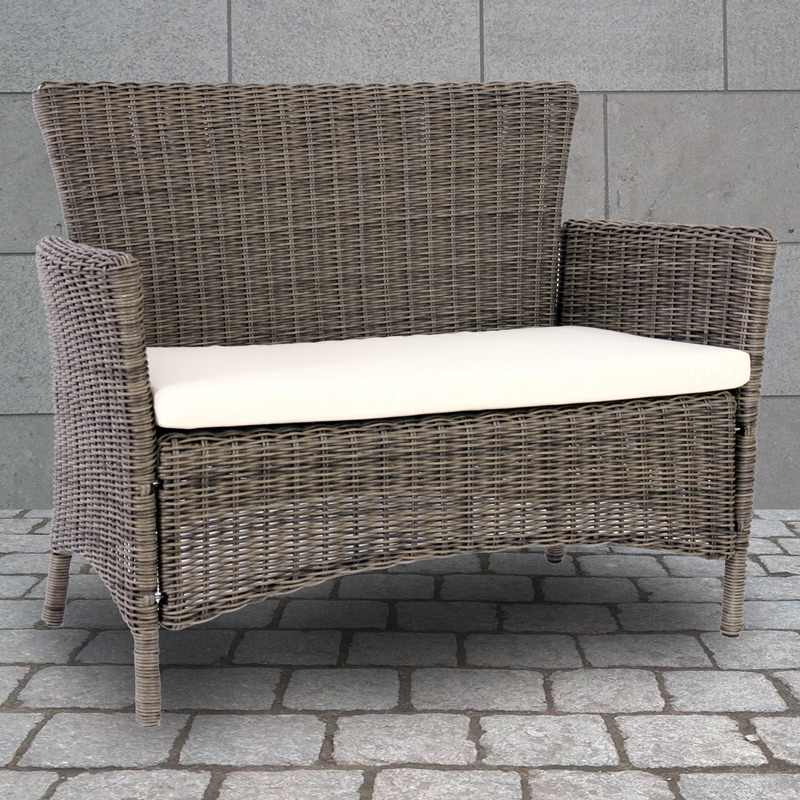 luxus bank sitzbank gartenbank romv poly rattan 113x87x57 cm naturgrau ebay. Black Bedroom Furniture Sets. Home Design Ideas