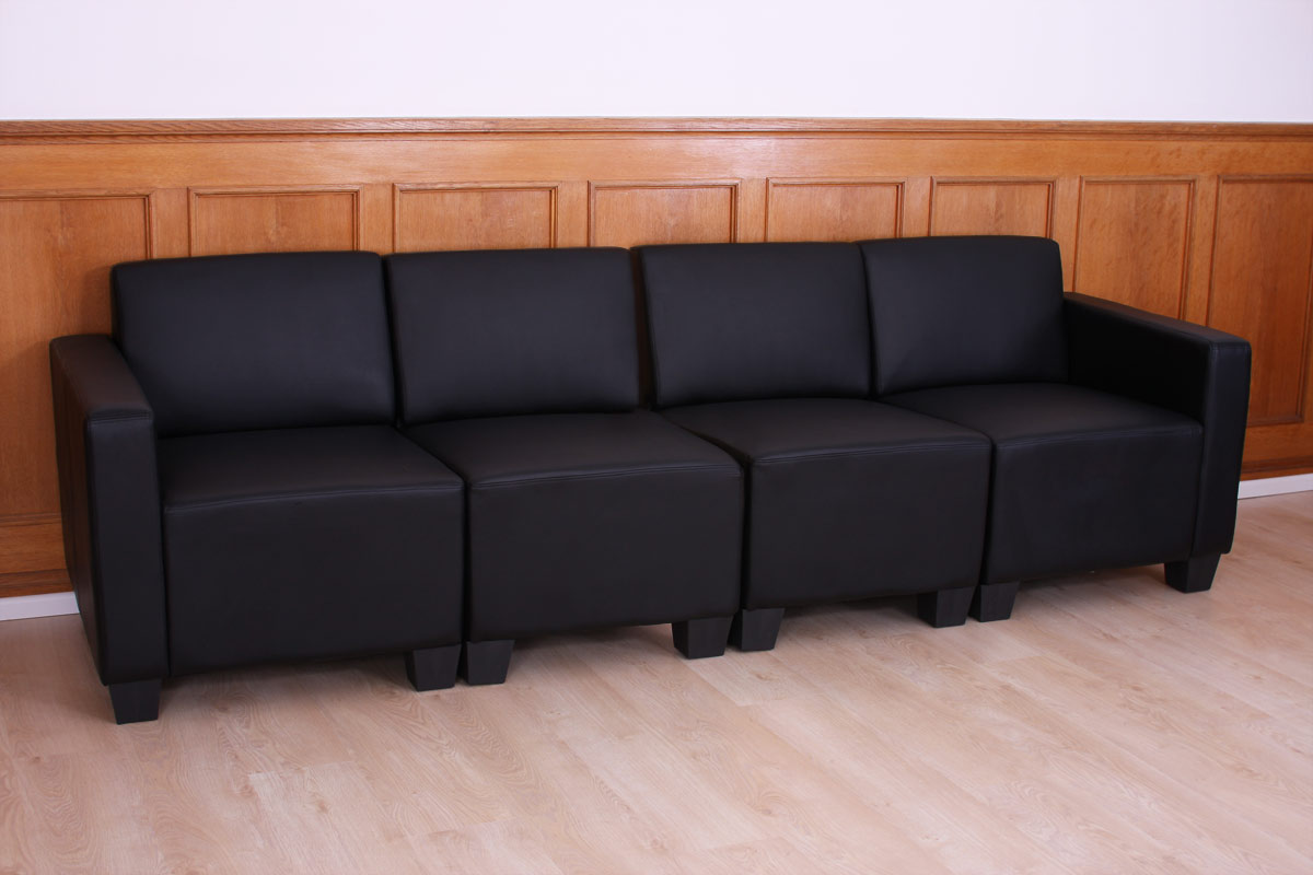 modular 4 sitzer sofa couch lyon kunstleder schwarz. Black Bedroom Furniture Sets. Home Design Ideas