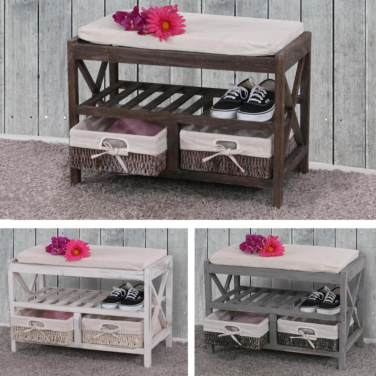 schuhregal sitzbank 45x65x34cm shabby look wei lackiert ebay. Black Bedroom Furniture Sets. Home Design Ideas