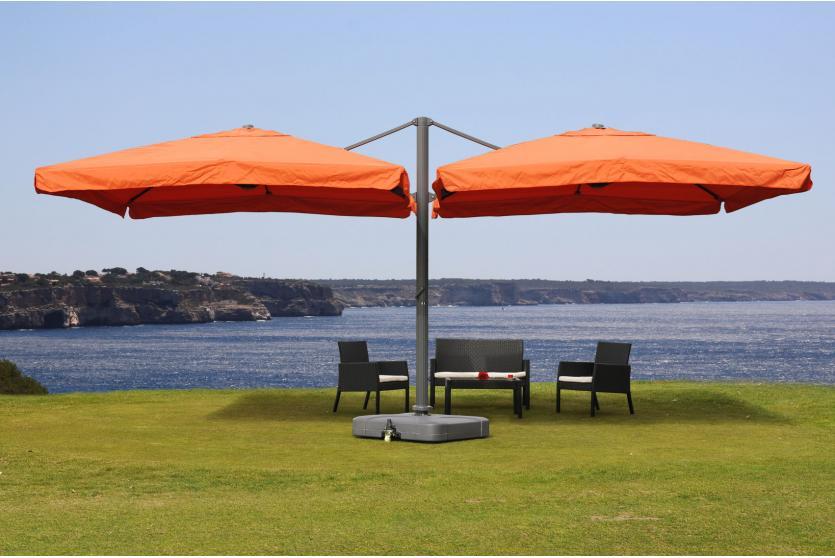 Gastronomie alu luxus doppel ampelschirm pergola markise 6 for Markise balkon mit luxus tapeten
