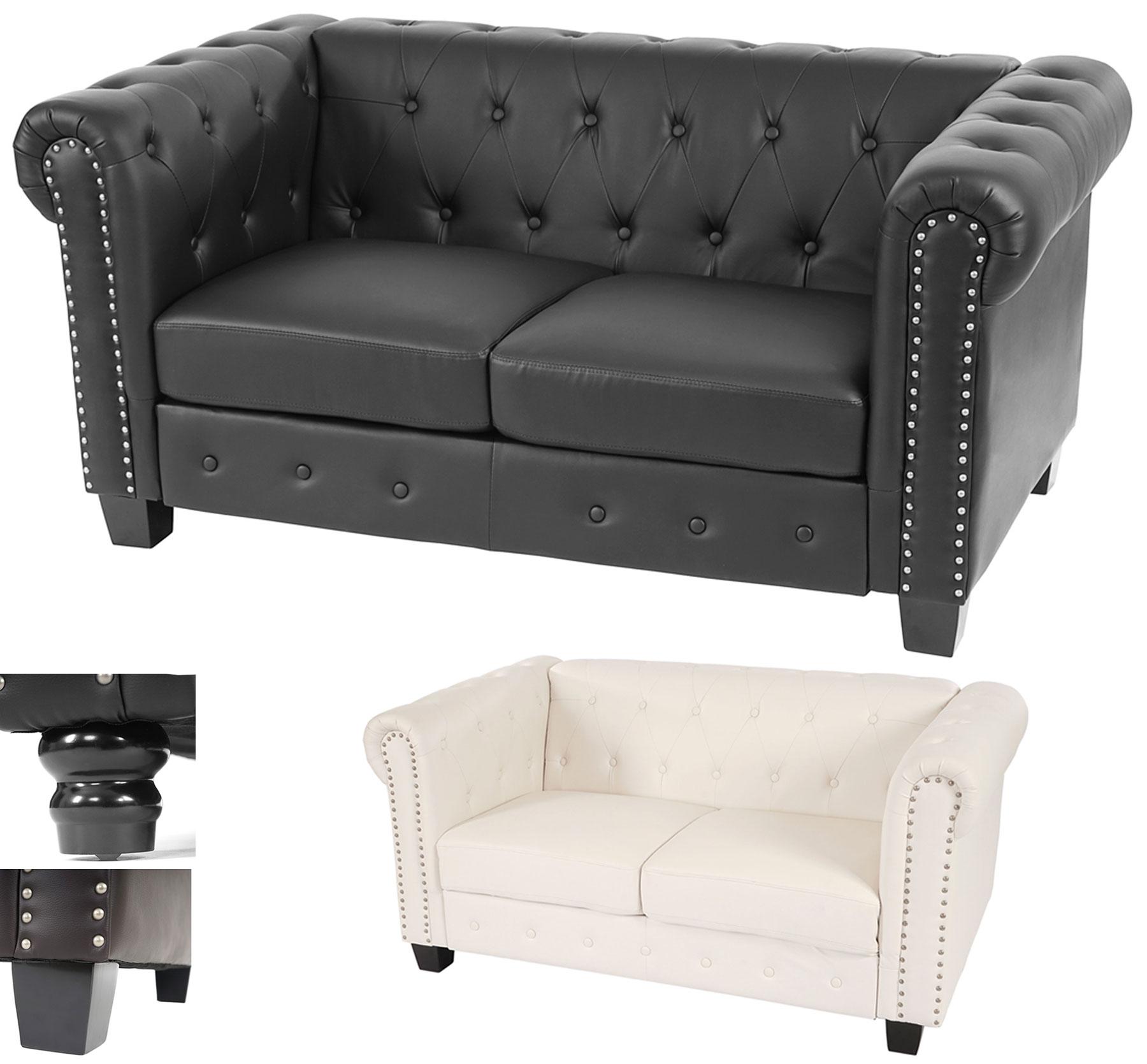 luxus 2er sofa chesterfield loungesofa kunstleder runde. Black Bedroom Furniture Sets. Home Design Ideas