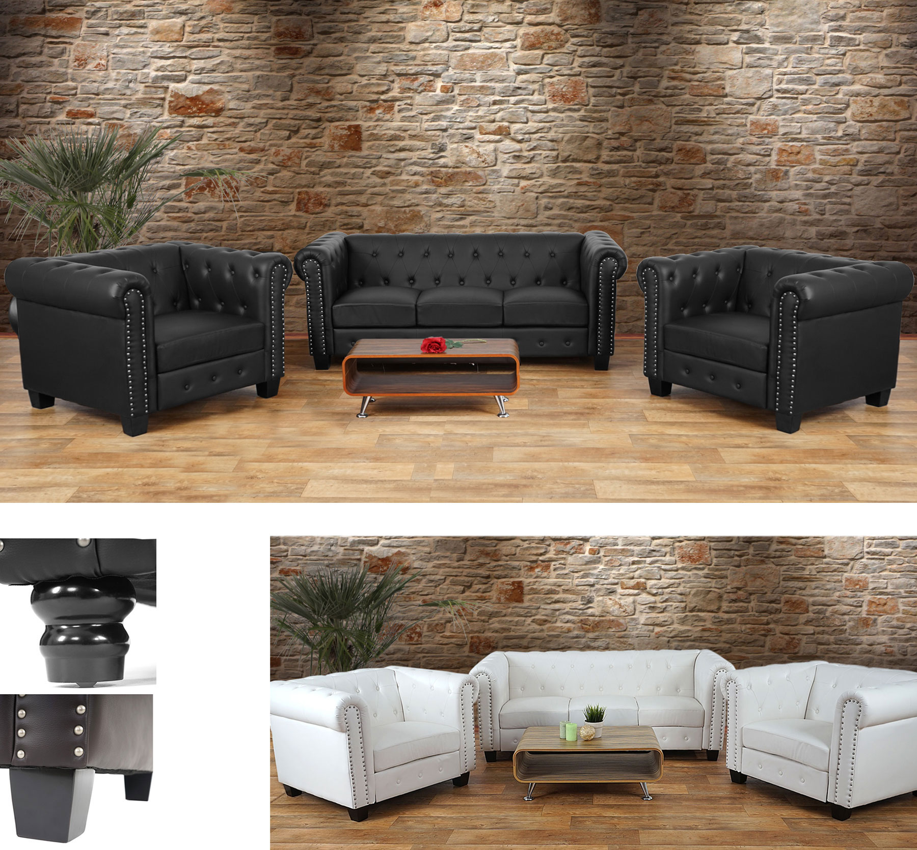 luxus 3 1 1 sofagarnitur chesterfield couch kunstleder runde oder eckige f e ebay. Black Bedroom Furniture Sets. Home Design Ideas