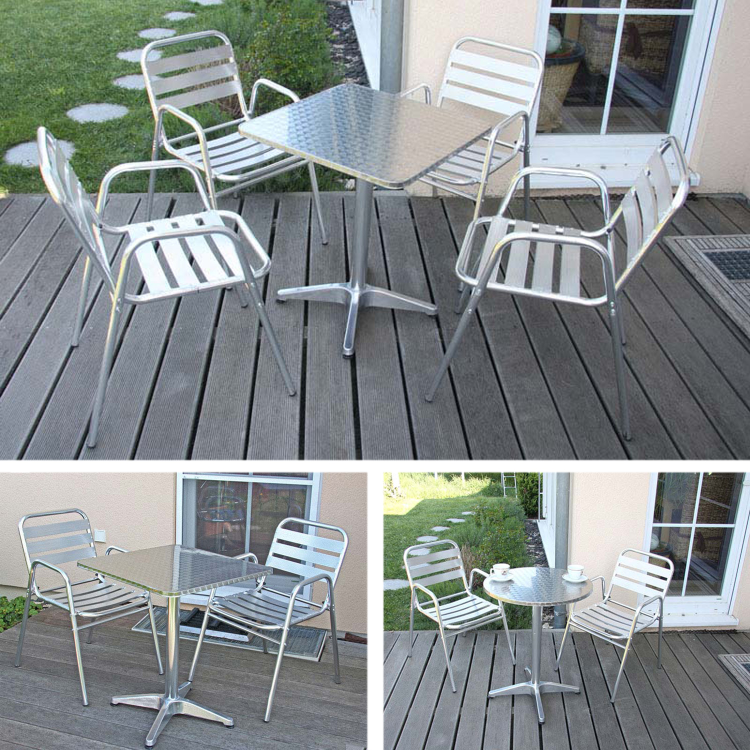 bistro garnitur garten sitzgruppe sitzgruppe aluminium stapelbar ebay. Black Bedroom Furniture Sets. Home Design Ideas