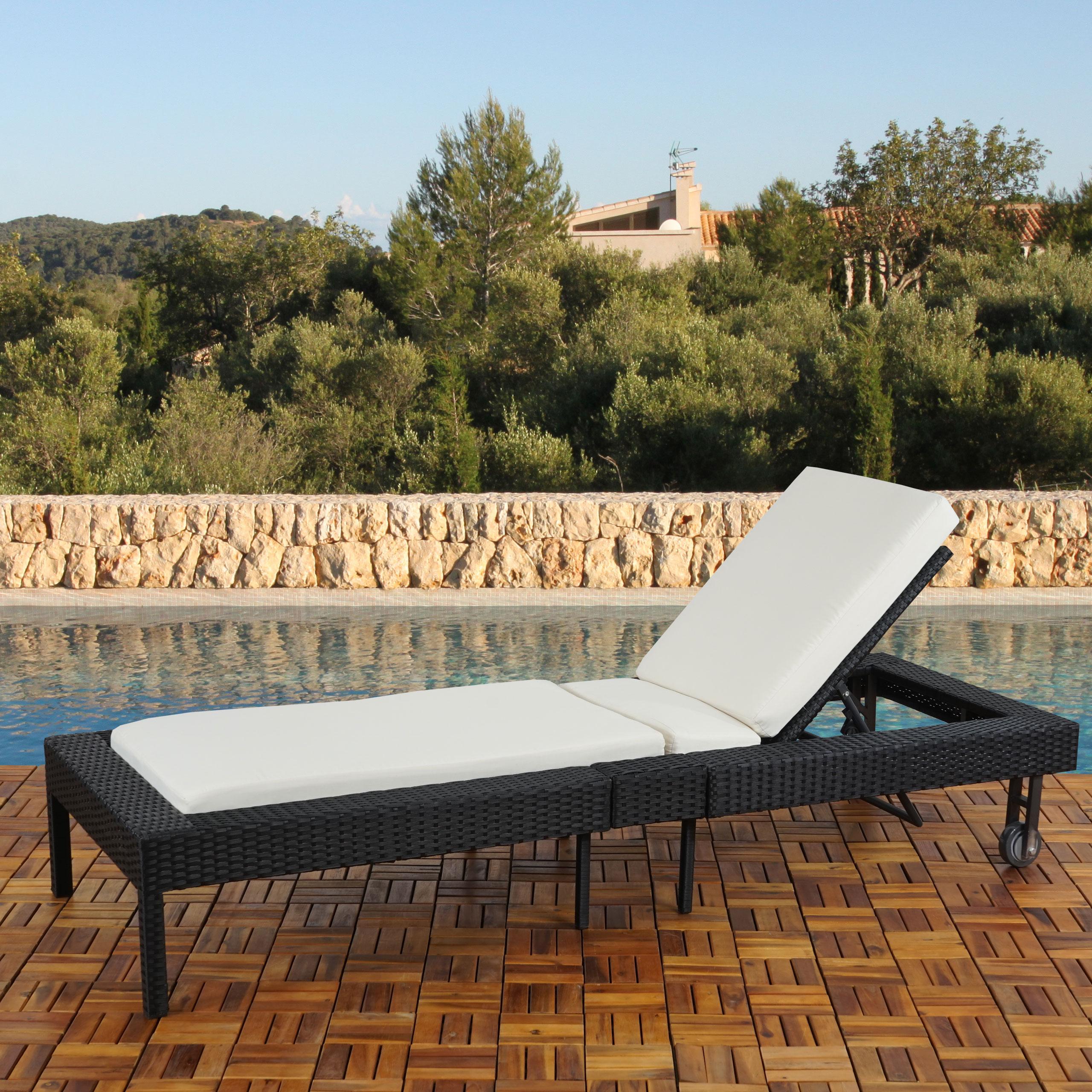 xxl gartenliege liege sonnenliege rom 205cm poly rattan anthrazit braun meliert ebay. Black Bedroom Furniture Sets. Home Design Ideas