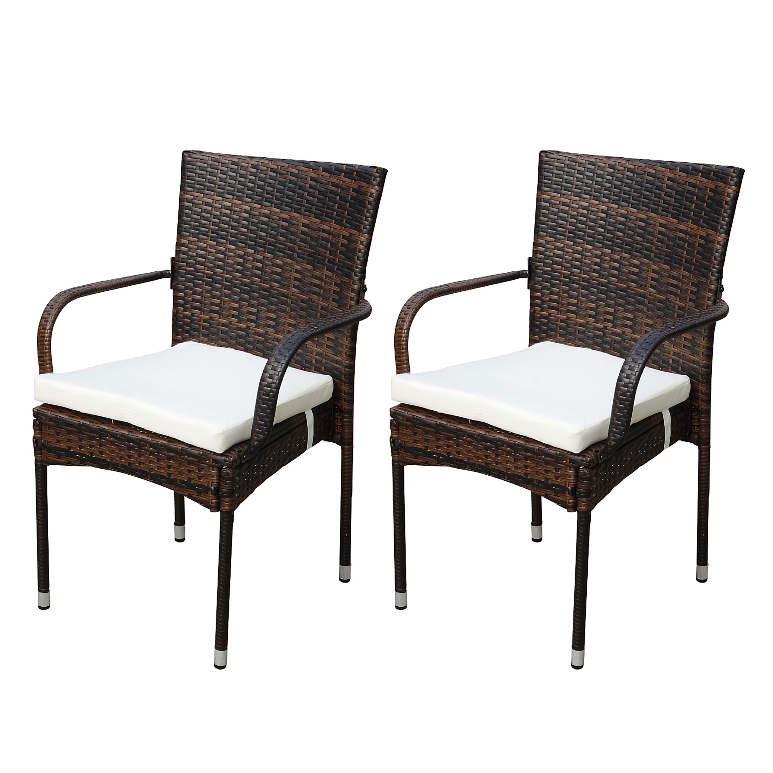 2x poly rattan gartenstuhl damiette stapelstuhl alu braun inkl sitzkissen ebay. Black Bedroom Furniture Sets. Home Design Ideas