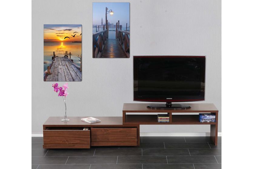 2x led bild mit beleuchtung leinwandbild leuchtbild wandbild 60x40cm pier ebay. Black Bedroom Furniture Sets. Home Design Ideas