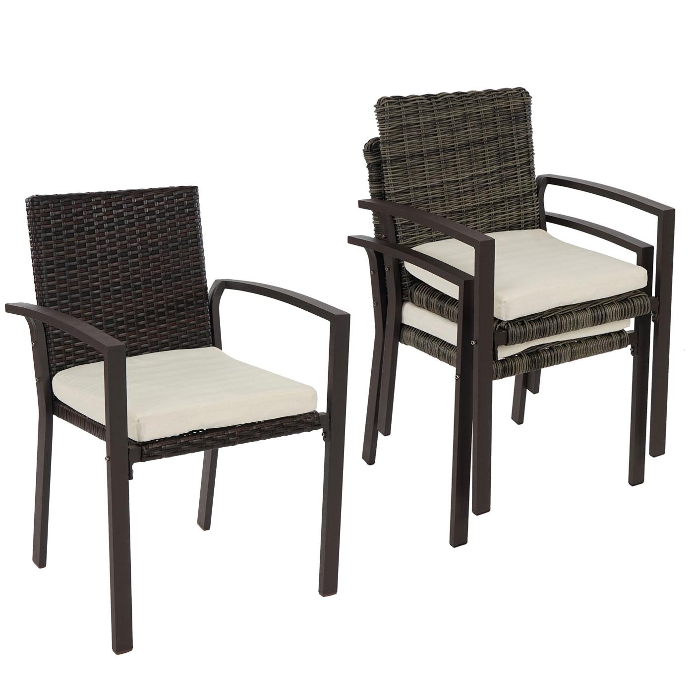2er oder 4er set poly rattan gartenstuhl palma ii stapelstuhl inkl sitzkissen ebay. Black Bedroom Furniture Sets. Home Design Ideas