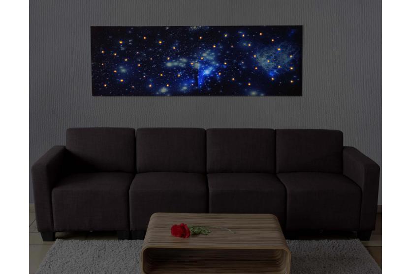 led bild mit beleuchtung leinwandbild leuchtbild wandbild timer 120x40cm sternenhimmel. Black Bedroom Furniture Sets. Home Design Ideas