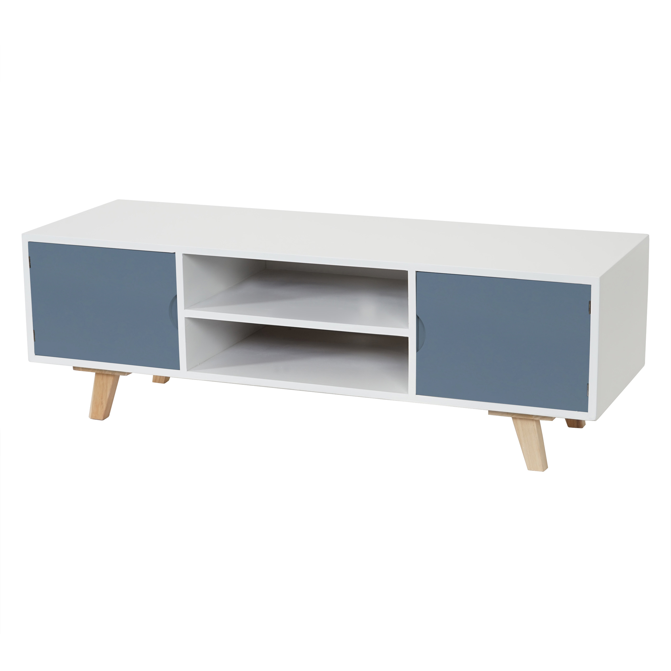 lowboard vaasa t256 tv rack fernsehtisch retro design 40x120x40cm blaue front ebay. Black Bedroom Furniture Sets. Home Design Ideas