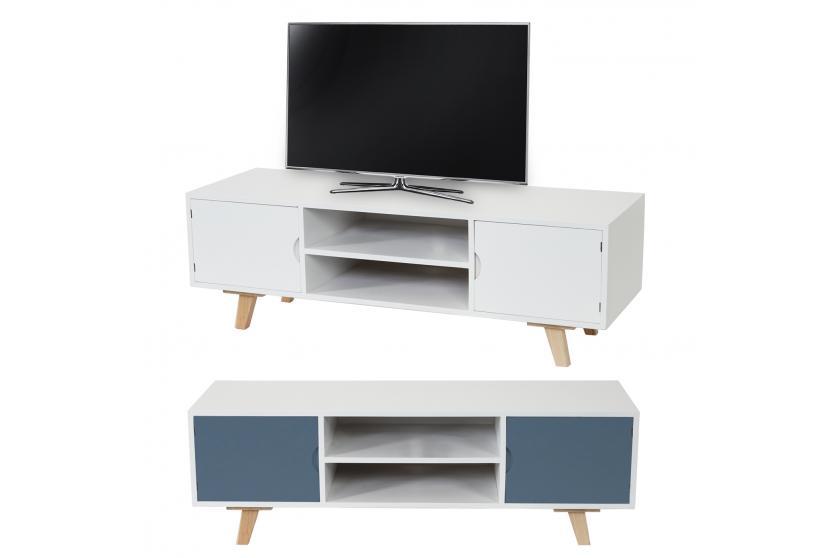 lowboard malm t256 tv rack fernsehtisch dise o retro 40x120x40cm blanco azul ebay. Black Bedroom Furniture Sets. Home Design Ideas