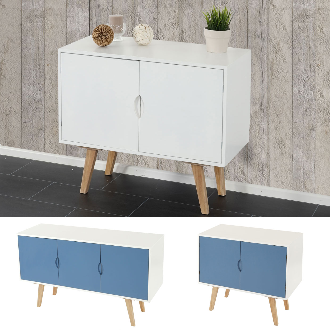 kommode malm t292 schrank sideboard retro design blaue oder wei e front ebay. Black Bedroom Furniture Sets. Home Design Ideas