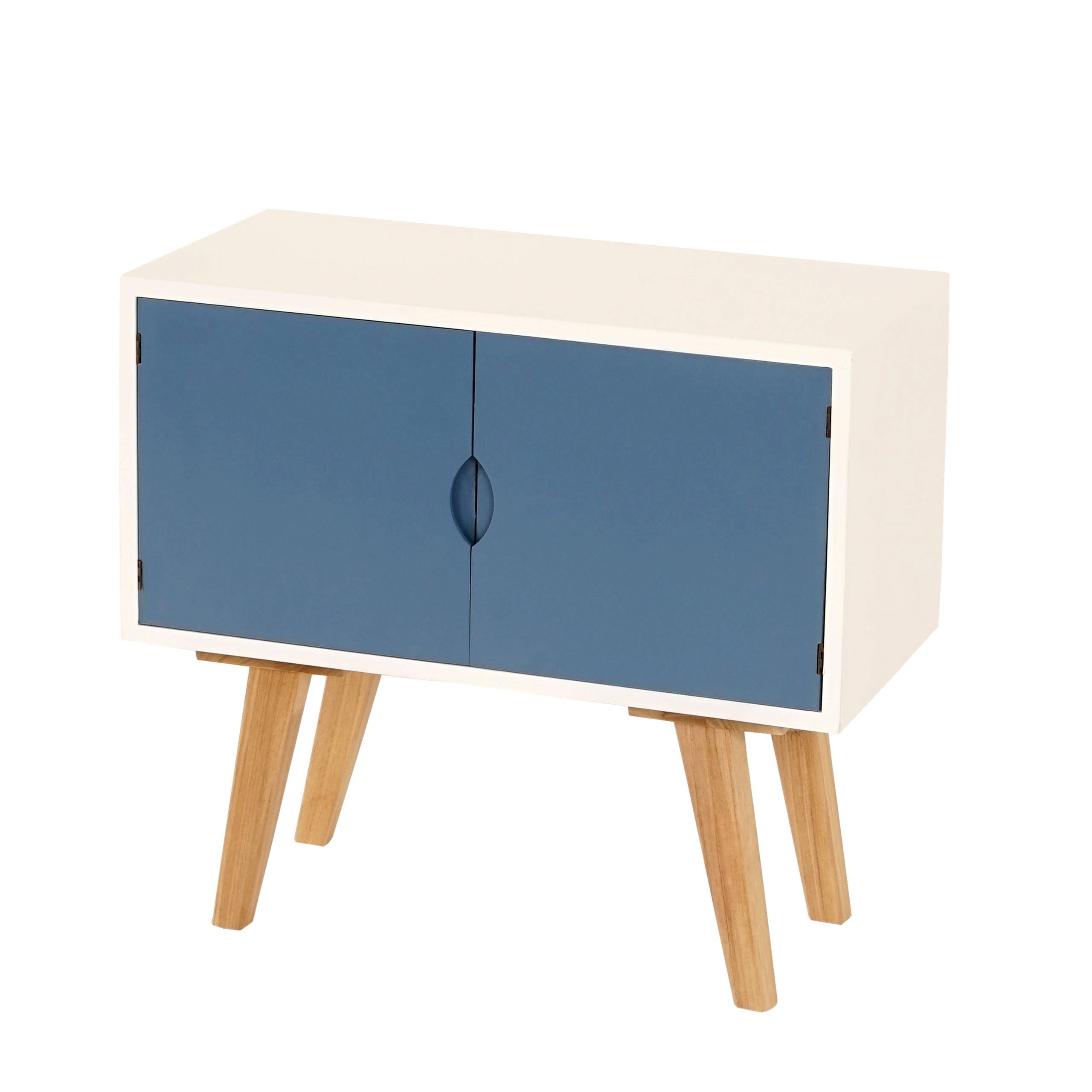 kommode vaasa t267 schrank beistelltisch retro design 60x30x55cm blaue front. Black Bedroom Furniture Sets. Home Design Ideas