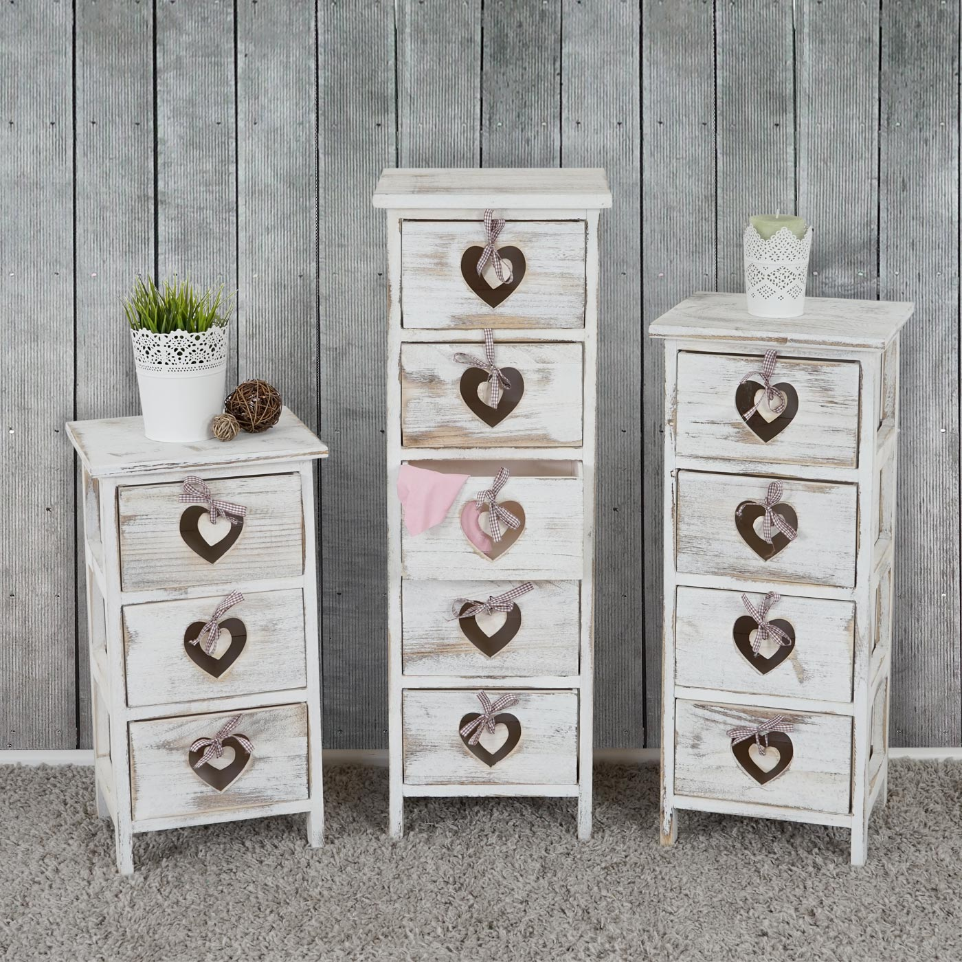 kommode forli schubladenkommode schrank shabby look vintage wei ebay. Black Bedroom Furniture Sets. Home Design Ideas