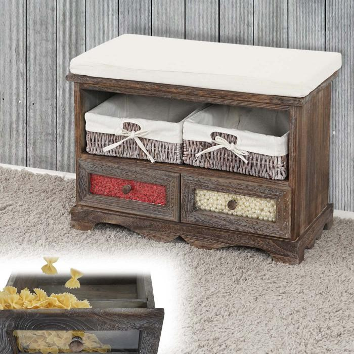 sitzbank asti kommode bank schaufenster schublade shabby look vintage 62x48x33cm braun. Black Bedroom Furniture Sets. Home Design Ideas