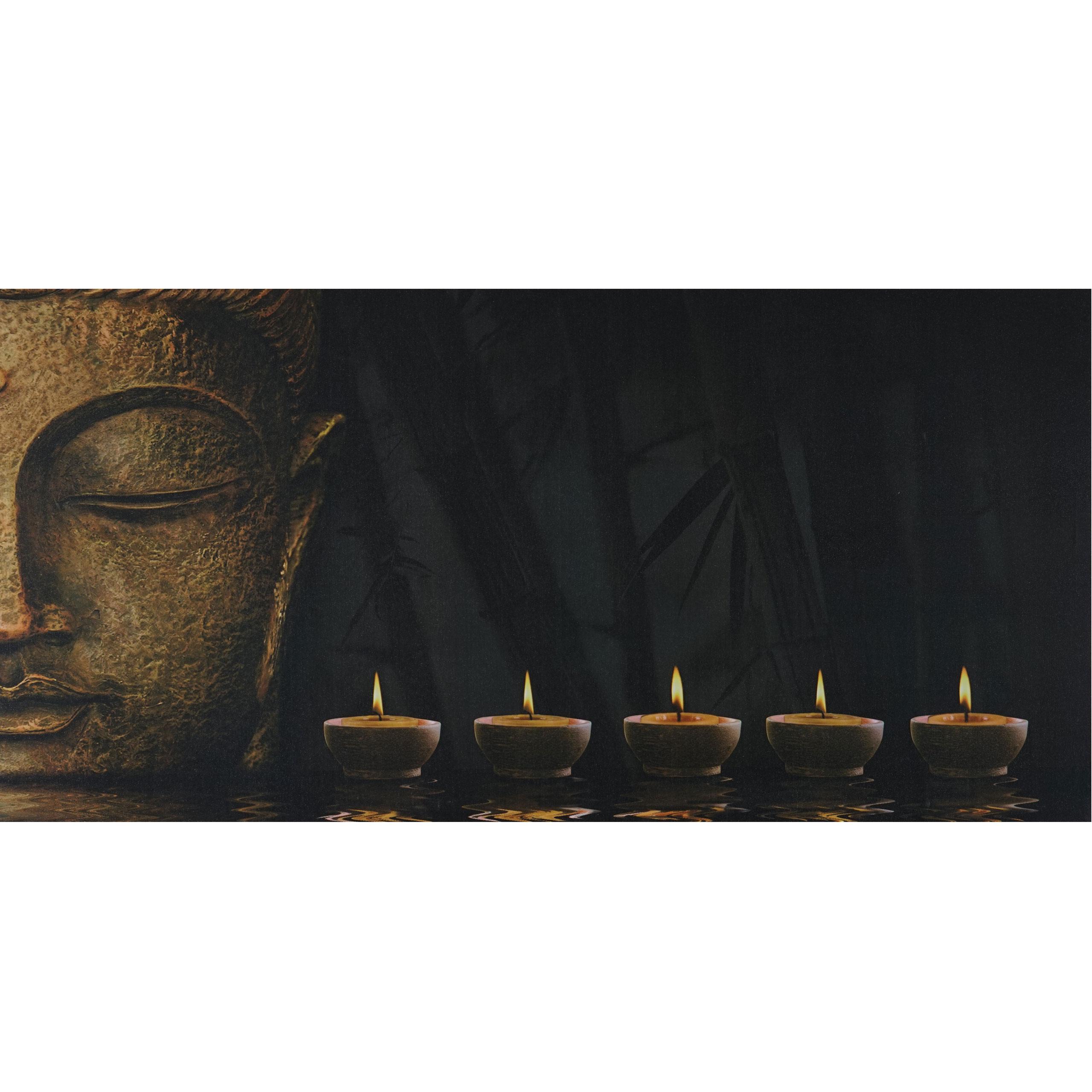 led bild mit beleuchtung timer 110x55cm buddha flackernd. Black Bedroom Furniture Sets. Home Design Ideas