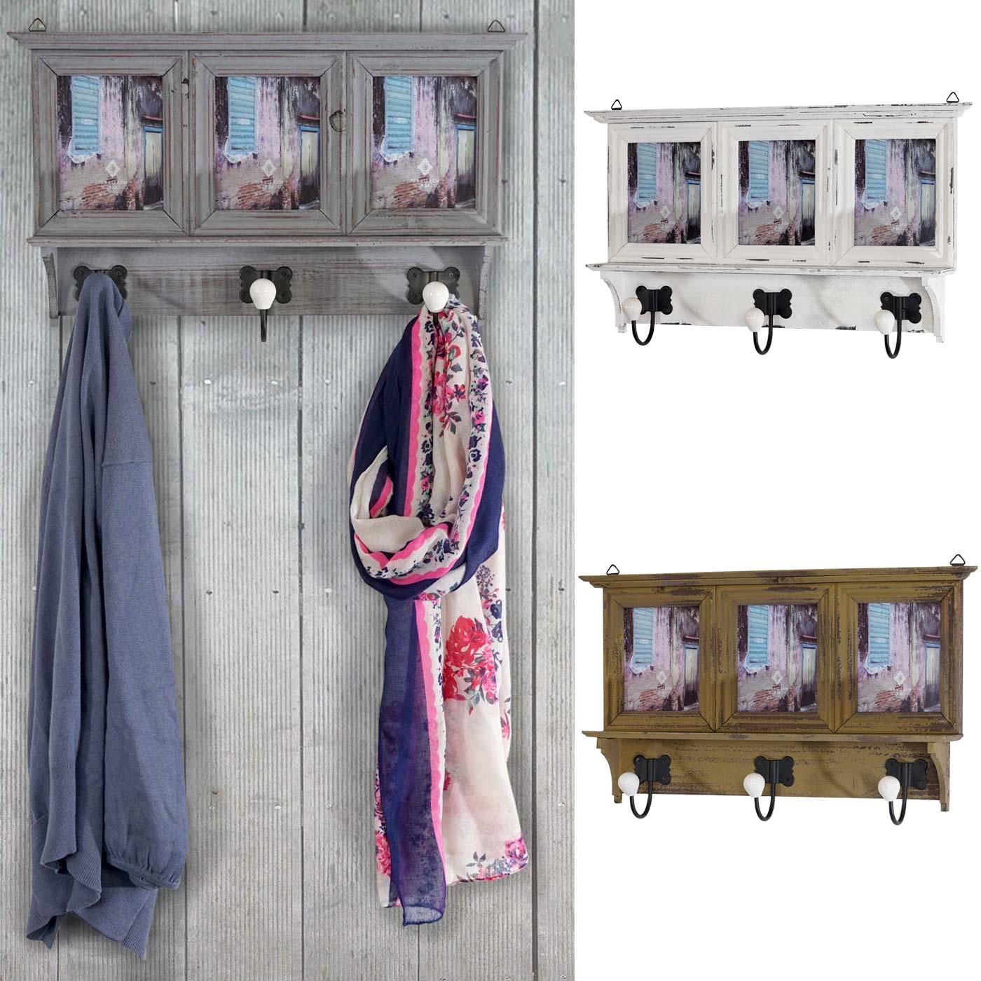 garderobe halifax wandgarderobe mit bilderrahmen 35x56x9cm shabby look vintage. Black Bedroom Furniture Sets. Home Design Ideas