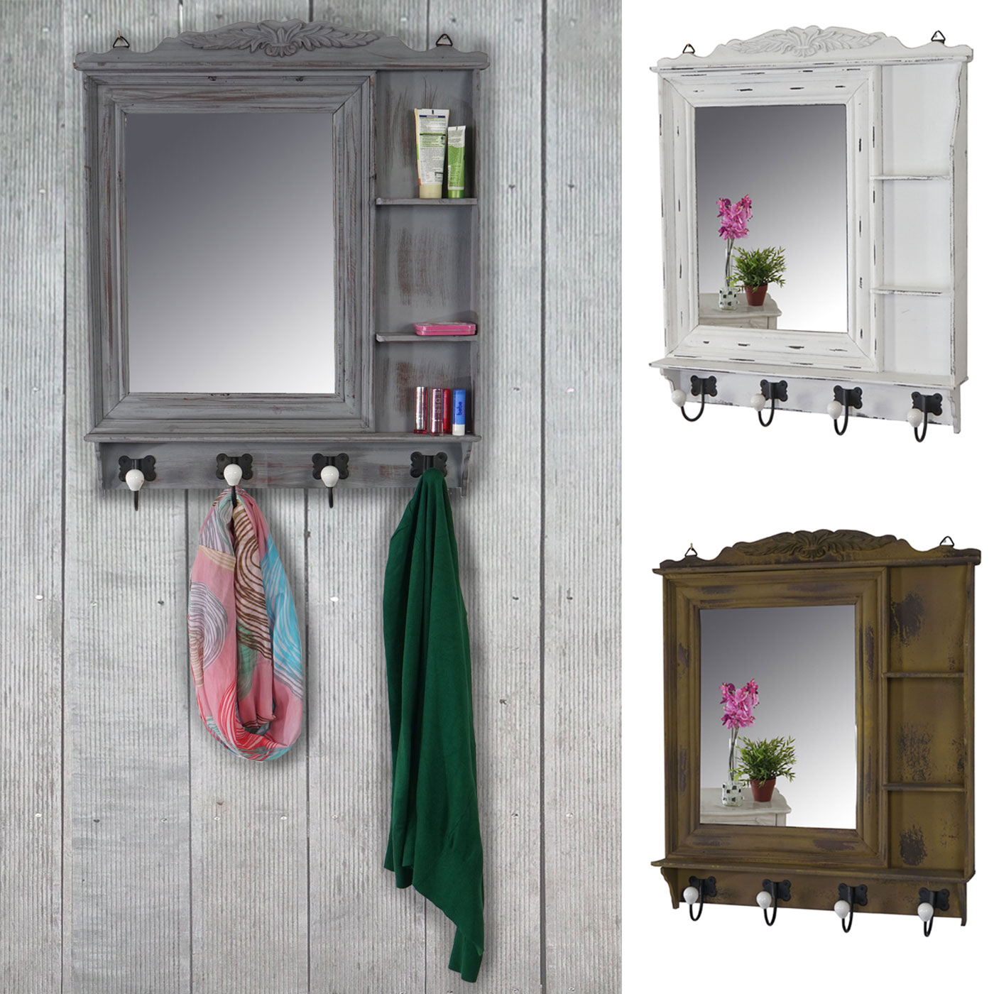 garderobe kanata wandgarderobe mit spiegel 75x63x9cm shabby look vintage ebay. Black Bedroom Furniture Sets. Home Design Ideas
