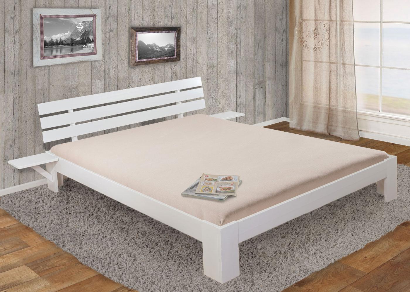 bett bendigo doppelbett incl lattenrost ablage 180x200cm wei lackiert ebay. Black Bedroom Furniture Sets. Home Design Ideas
