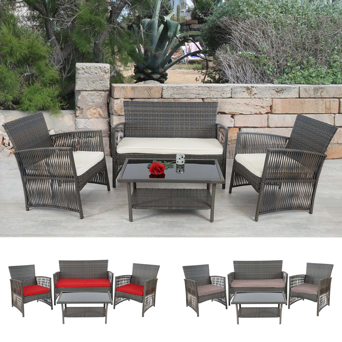 2 1 1 poly rattan garten garnitur cordoba sitzgruppe lounge set braun grau ebay. Black Bedroom Furniture Sets. Home Design Ideas