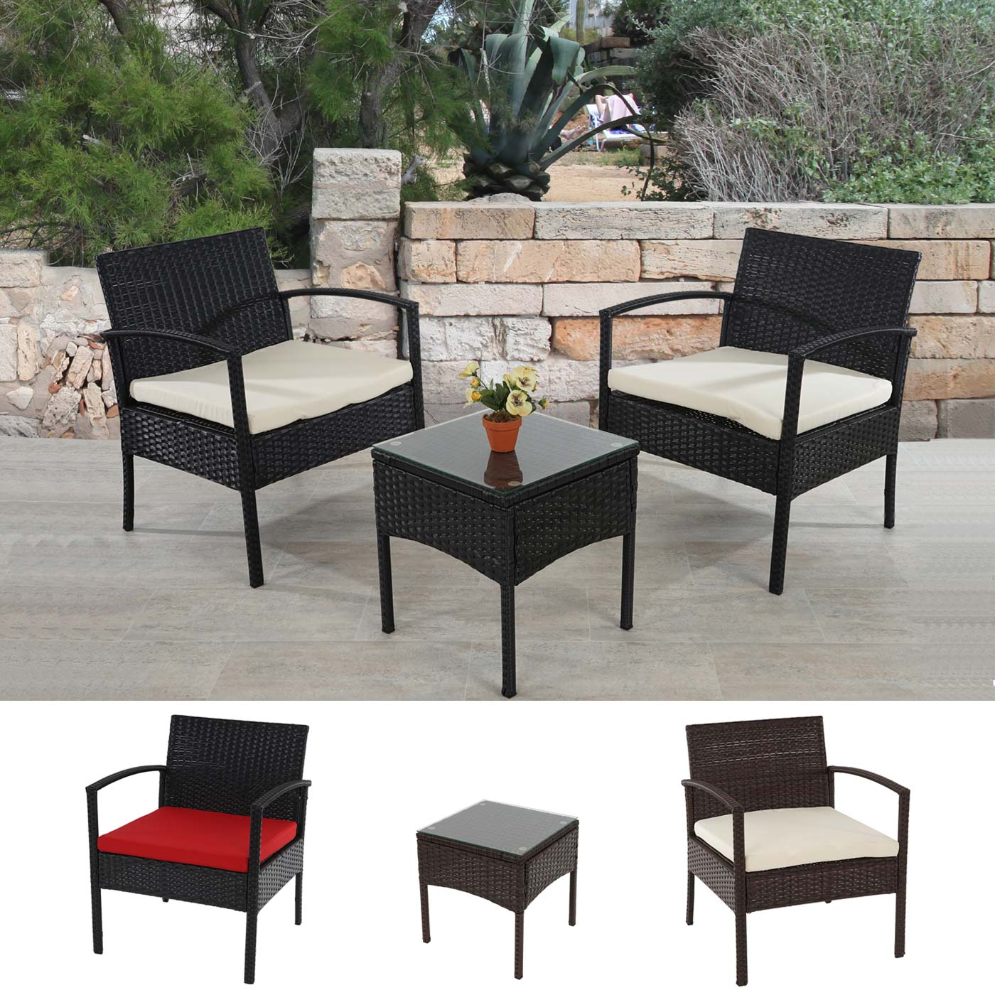 Poly rattan lounge set rimini garten garnitur anthrazit braun meliert ebay for Lounge garnitur garten