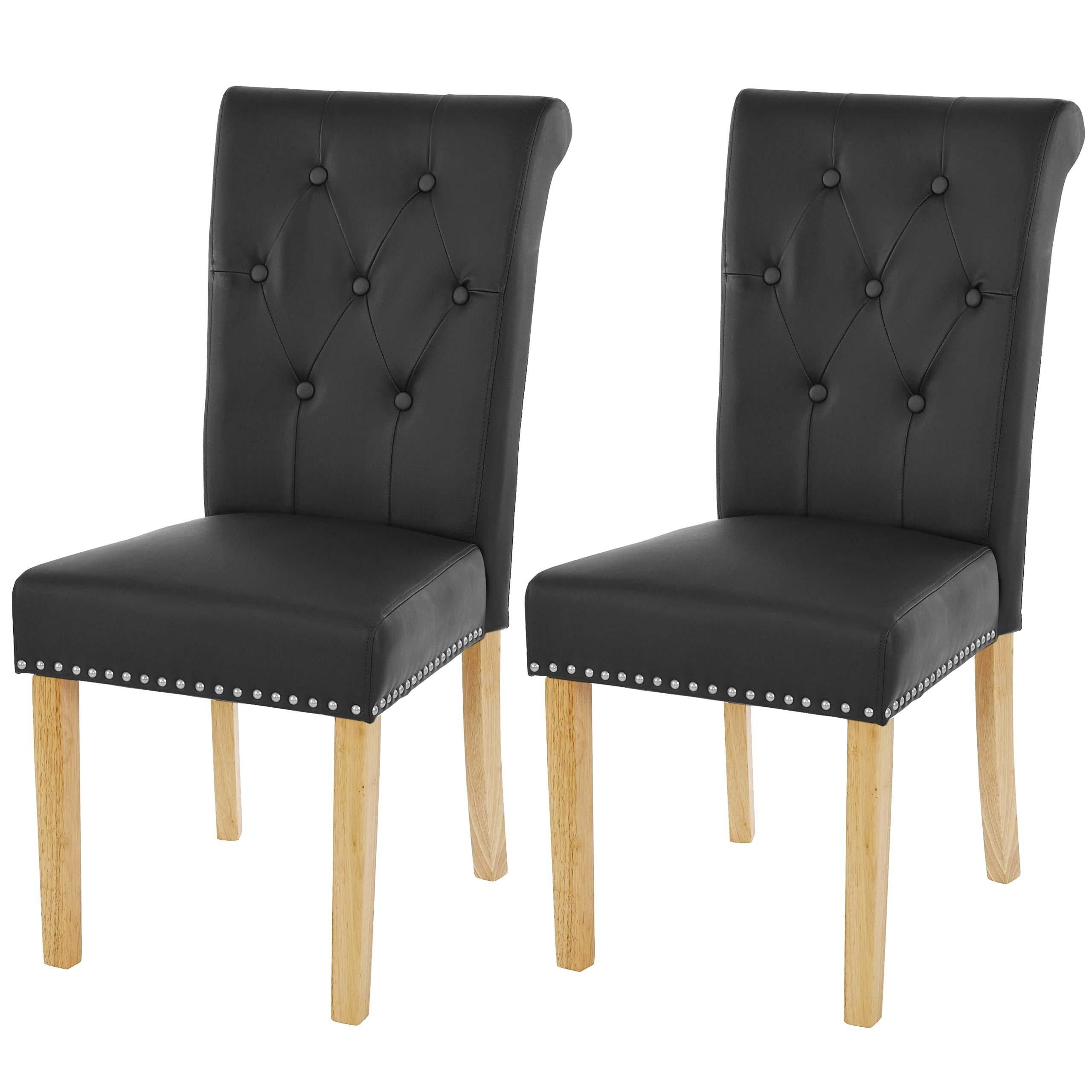 2x esszimmerstuhl chesterfield edinburgh ii kunstleder schwarz helle beine ebay. Black Bedroom Furniture Sets. Home Design Ideas