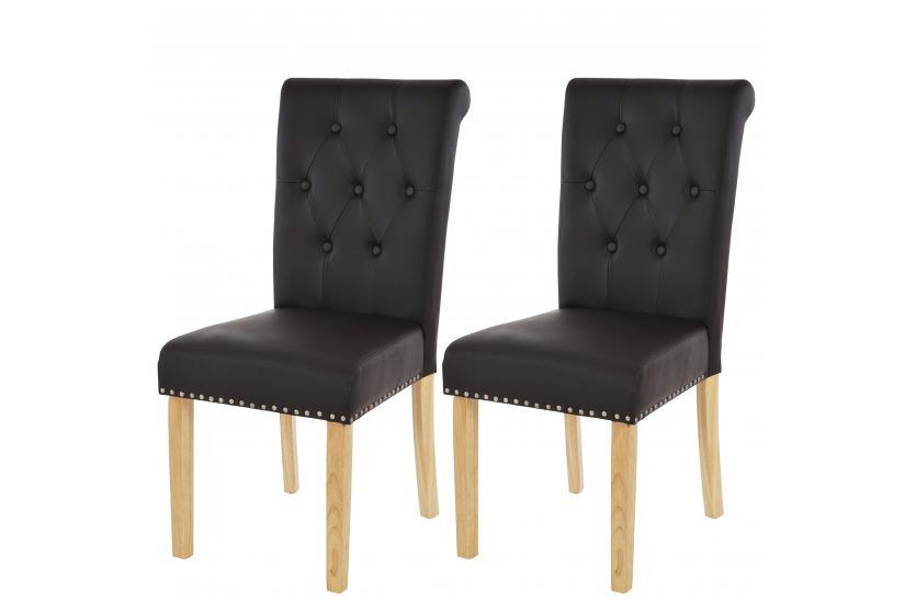 2x esszimmerstuhl chesterfield ii stuhl lehnstuhl nieten kunstleder ebay. Black Bedroom Furniture Sets. Home Design Ideas