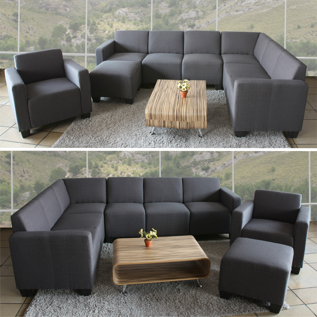 modular sofa system couch garnitur lyon 6 2 textil anthrazit ebay. Black Bedroom Furniture Sets. Home Design Ideas