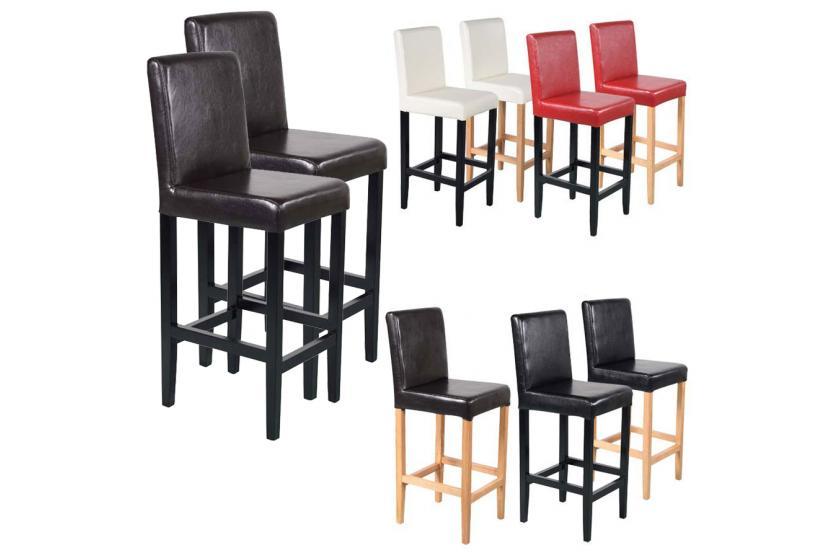 2x barhocker vicenza holz leder rot creme schwarz braun. Black Bedroom Furniture Sets. Home Design Ideas