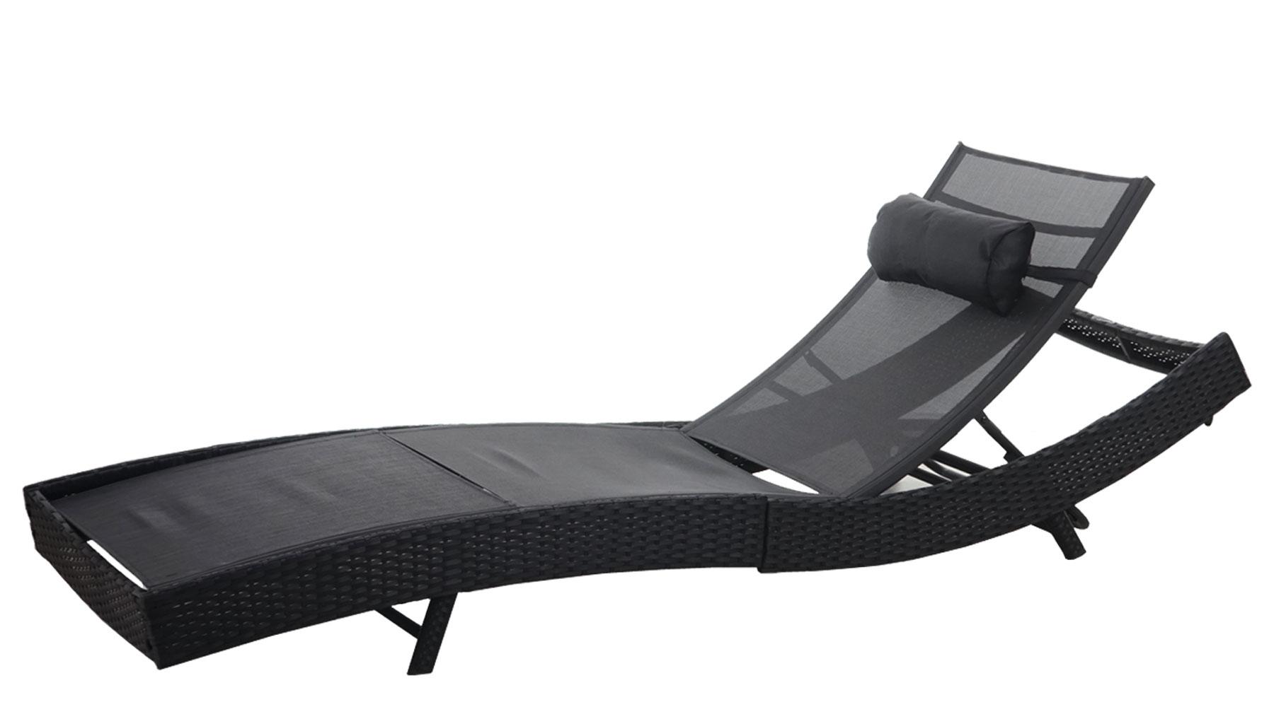 xxl sonnenliege samara relaxliege poly rattan anthrazit bezug schwarz ebay. Black Bedroom Furniture Sets. Home Design Ideas