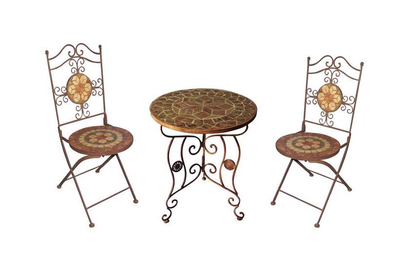 mosaik set mosaiktisch 2x stuhl klappbar ebay. Black Bedroom Furniture Sets. Home Design Ideas