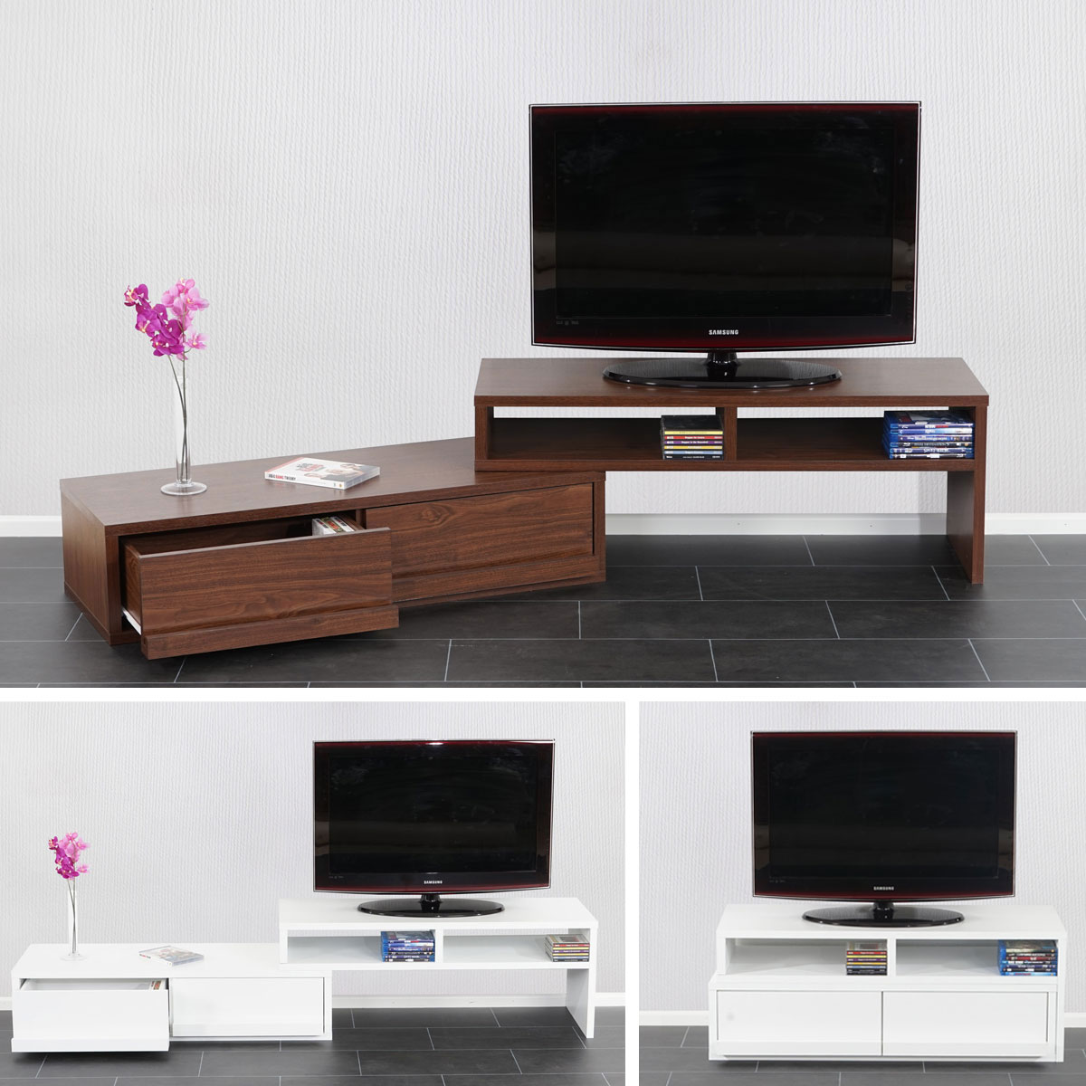 tv rack tv regal lowboard fernsehtisch namur verschiebbar ausziehbar ebay. Black Bedroom Furniture Sets. Home Design Ideas