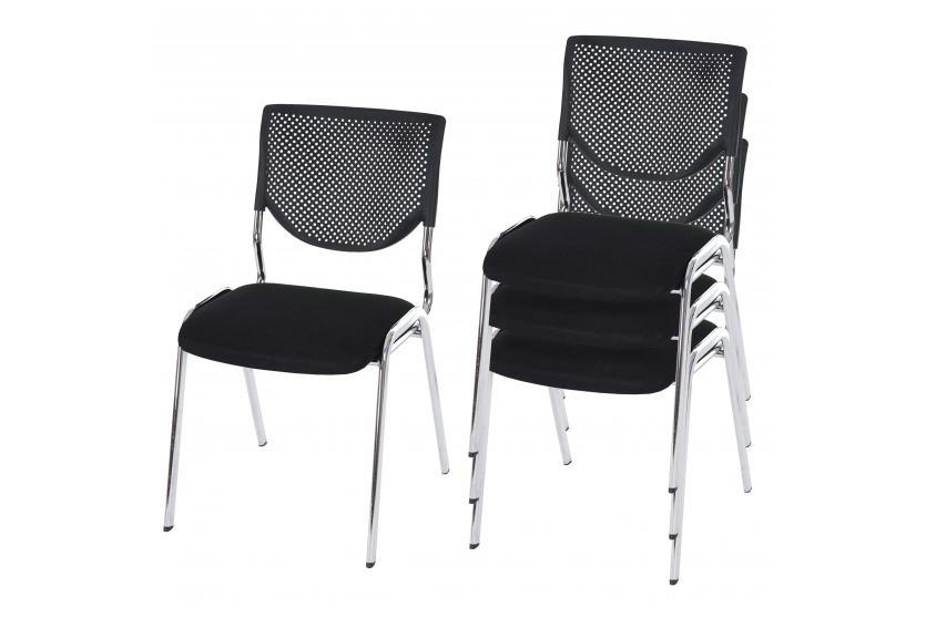 4x konferenzstuhl t401 besucherstuhl stapelbar textil sitz schwarz f e chrom ebay. Black Bedroom Furniture Sets. Home Design Ideas