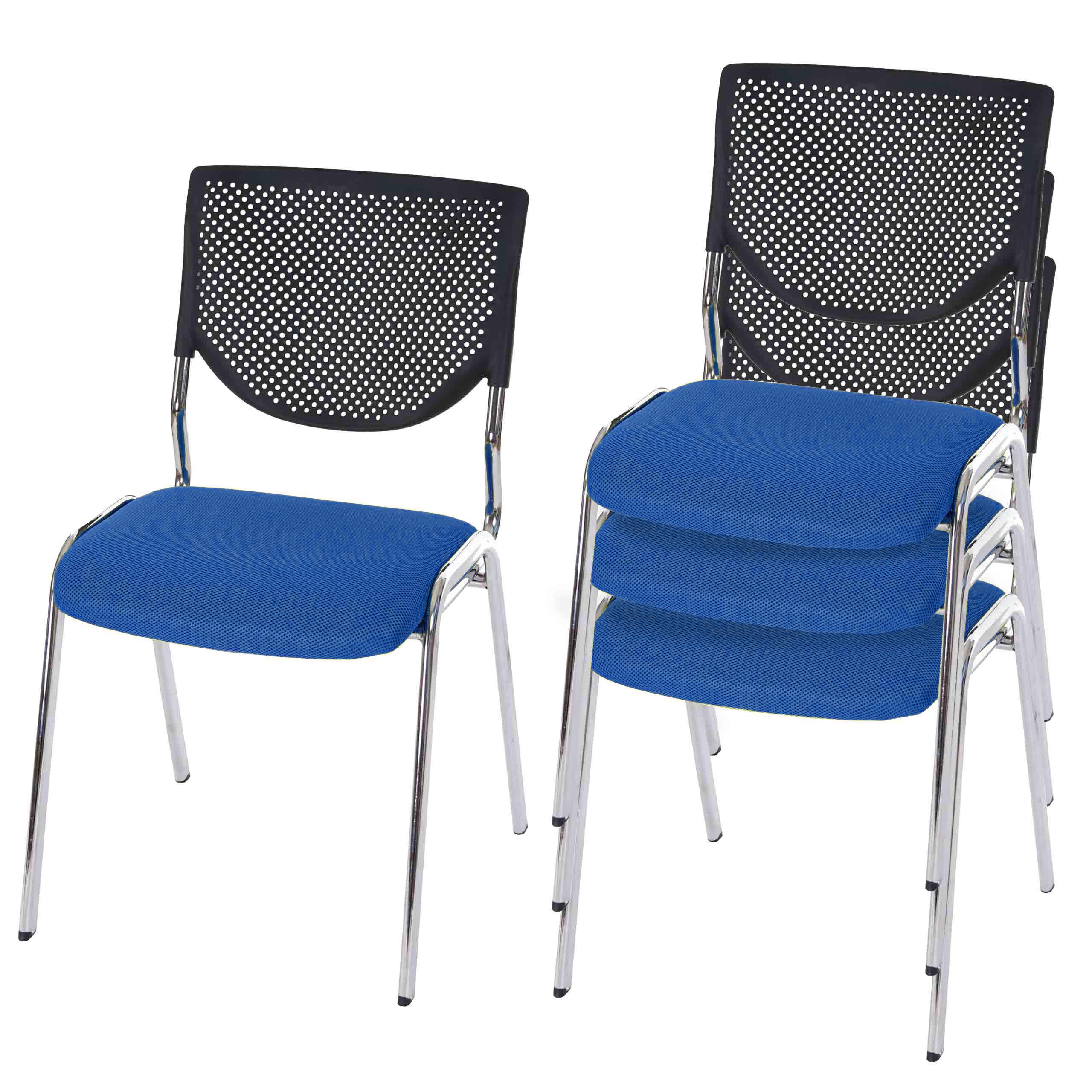 4x besucherstuhl h401 konferenzstuhl textil sitz blau f e chrom ebay. Black Bedroom Furniture Sets. Home Design Ideas