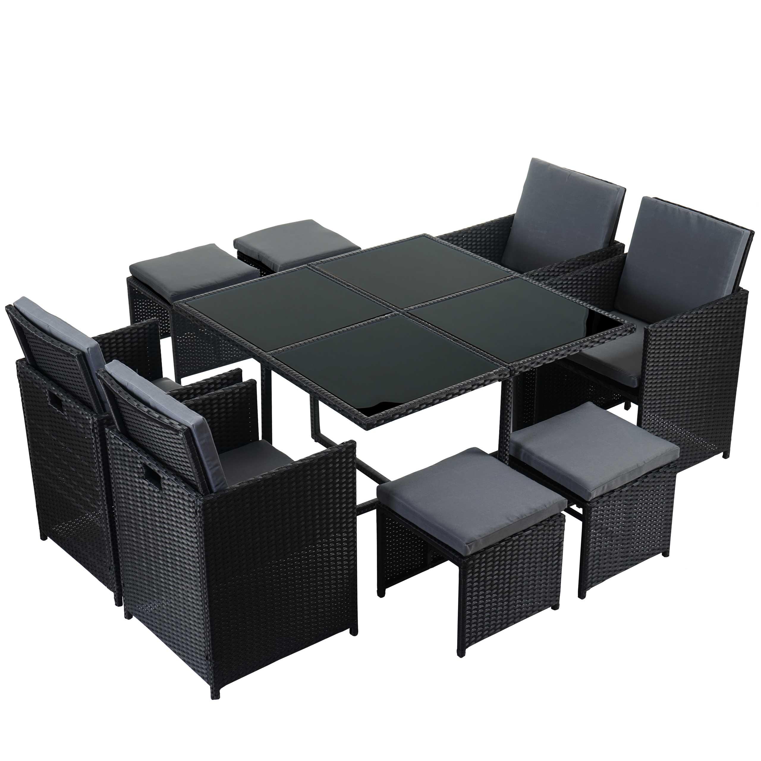poly-rattan garten-garnitur kreta, lounge-set sitzgruppe schwarz, Garten und Bauen