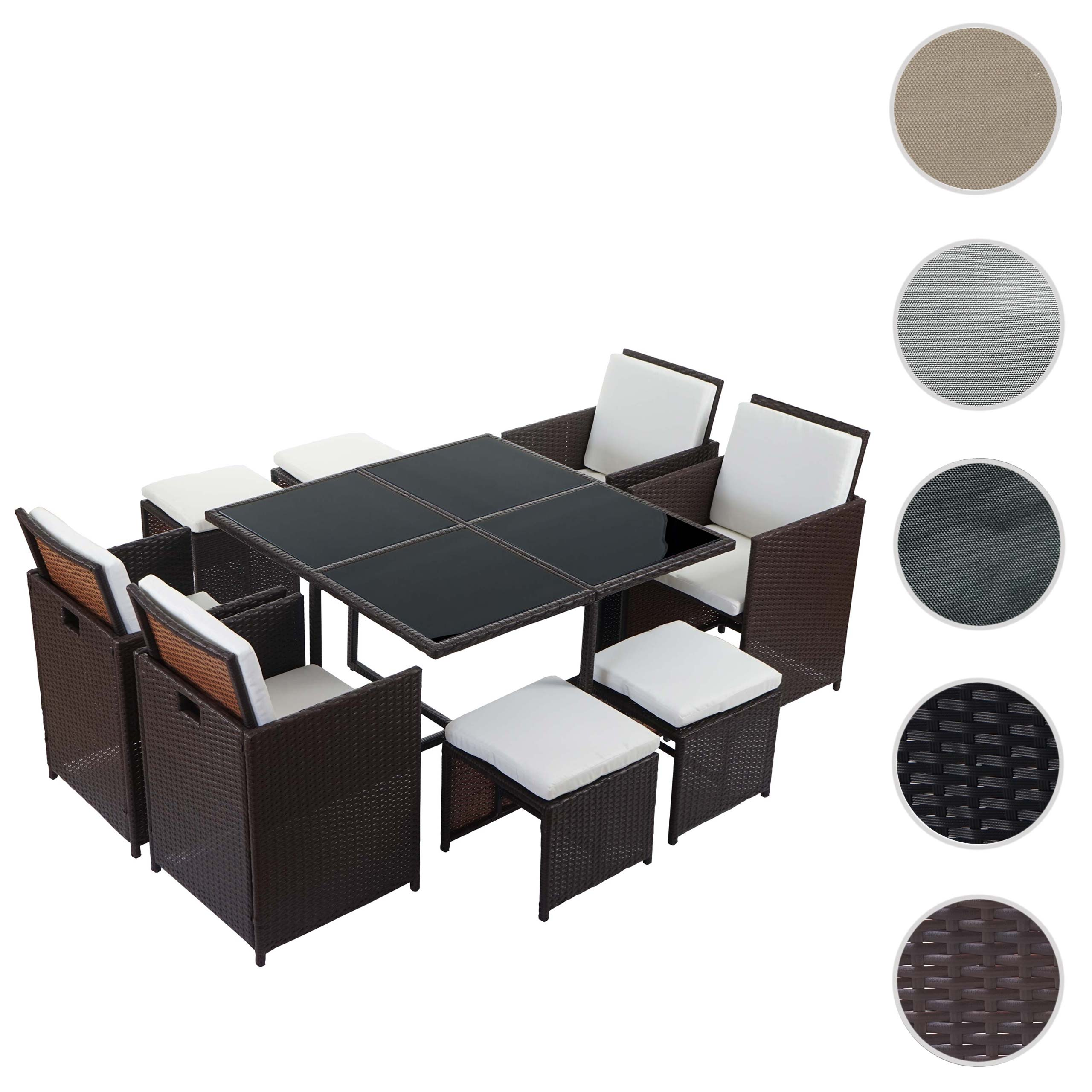 poly rattan garten garnitur kreta lounge set sitzgruppe. Black Bedroom Furniture Sets. Home Design Ideas