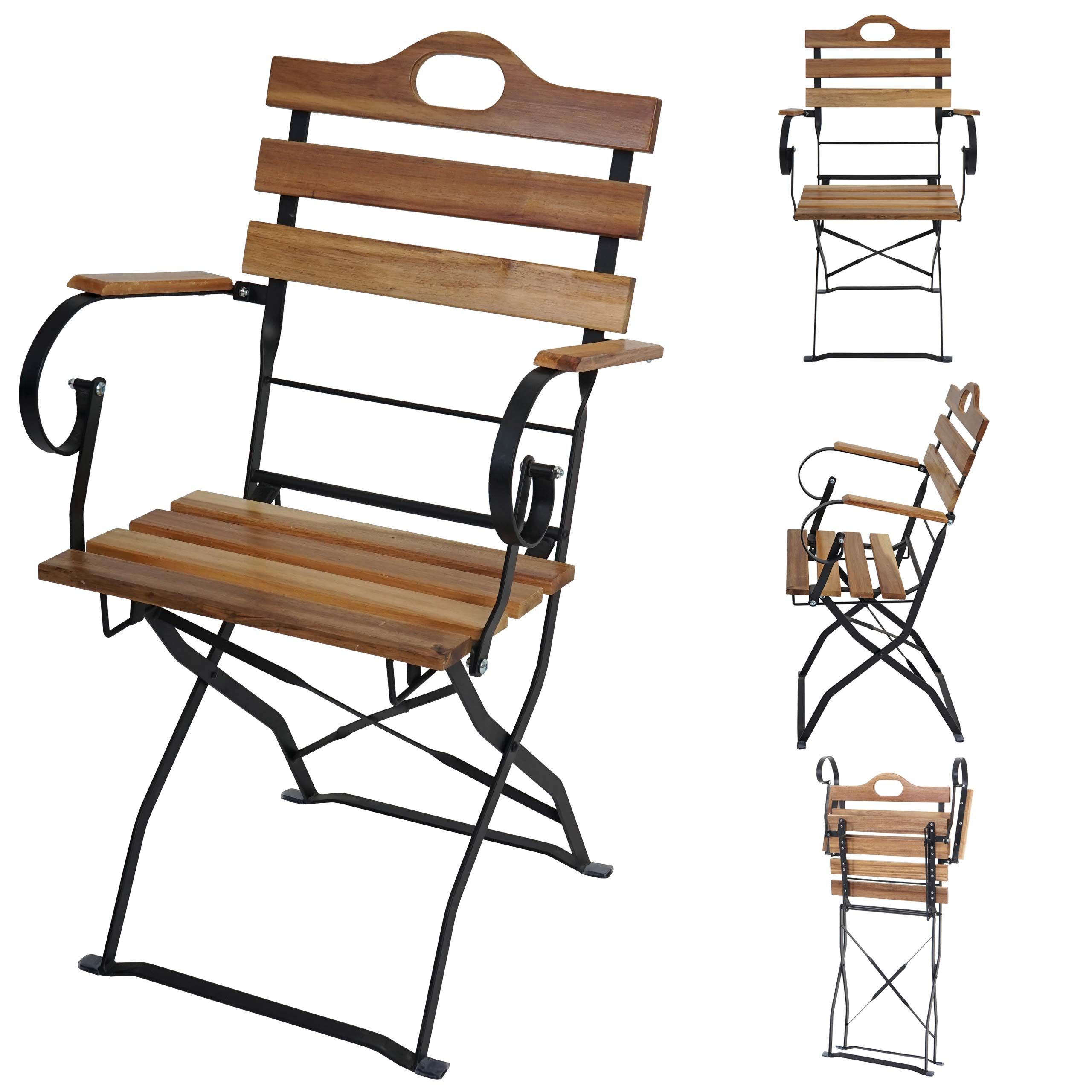 4x biergartenstuhl wien klappstuhl gartenstuhl akazie ge lt natur ebay. Black Bedroom Furniture Sets. Home Design Ideas