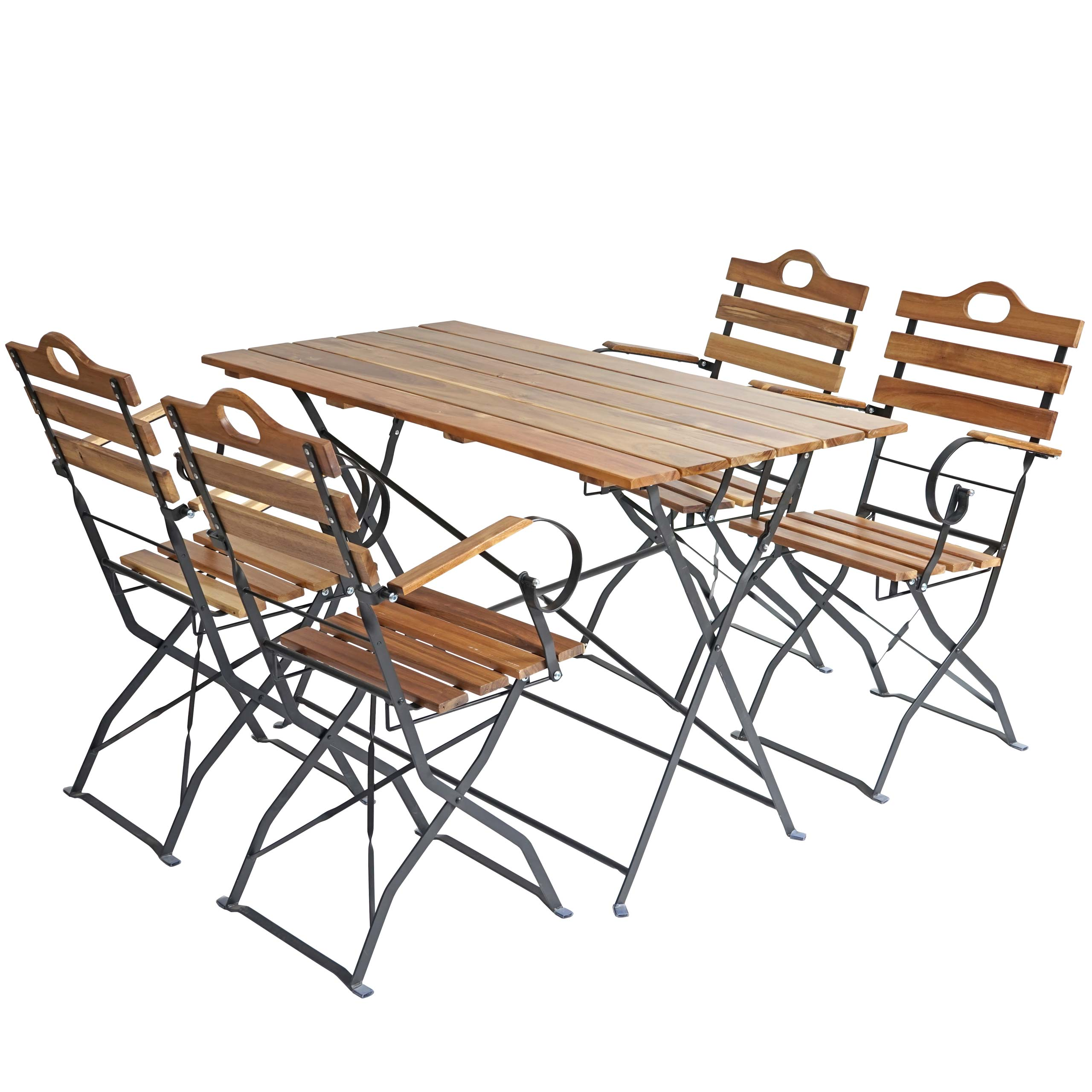 biergarten garnitur wien bistro set garten set klappbar akazie ge lt natur ebay. Black Bedroom Furniture Sets. Home Design Ideas